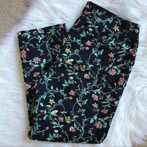 Loft Riviera Pant Julie Cut Crop Floral Size 6